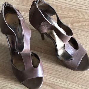 Fergie zip close leather heels